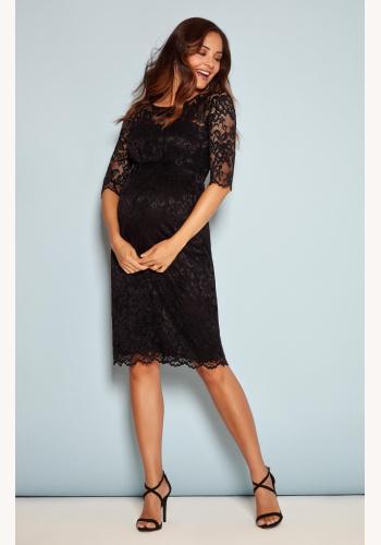 604742060 Tiffany Rose čierne midi tehotenské šaty s 3/4 rukávom 296TRc