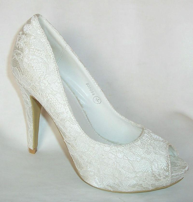 38c8f6860c91 Smotanové svadobné čipkované topánky vpredu otvorené na vysokom opätku 019