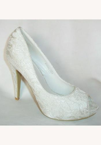 0ceb1a0002 Smotanové svadobné čipkované topánky vpredu otvorené na vysokom opätku 019