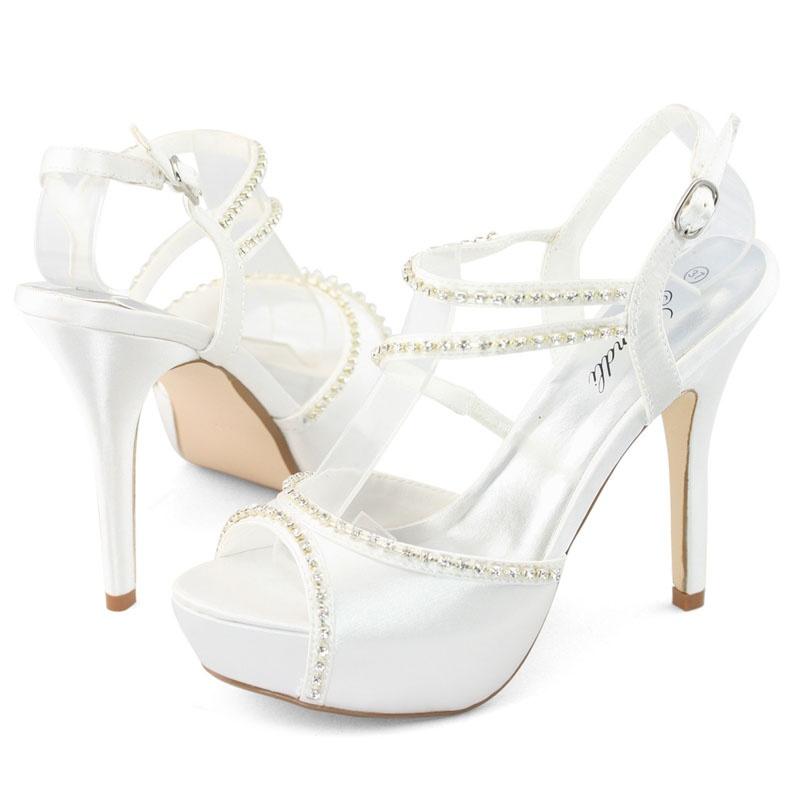 57d850111d Biele svadobné saténové sandále na vysokom opätku 020 - Salón Emily