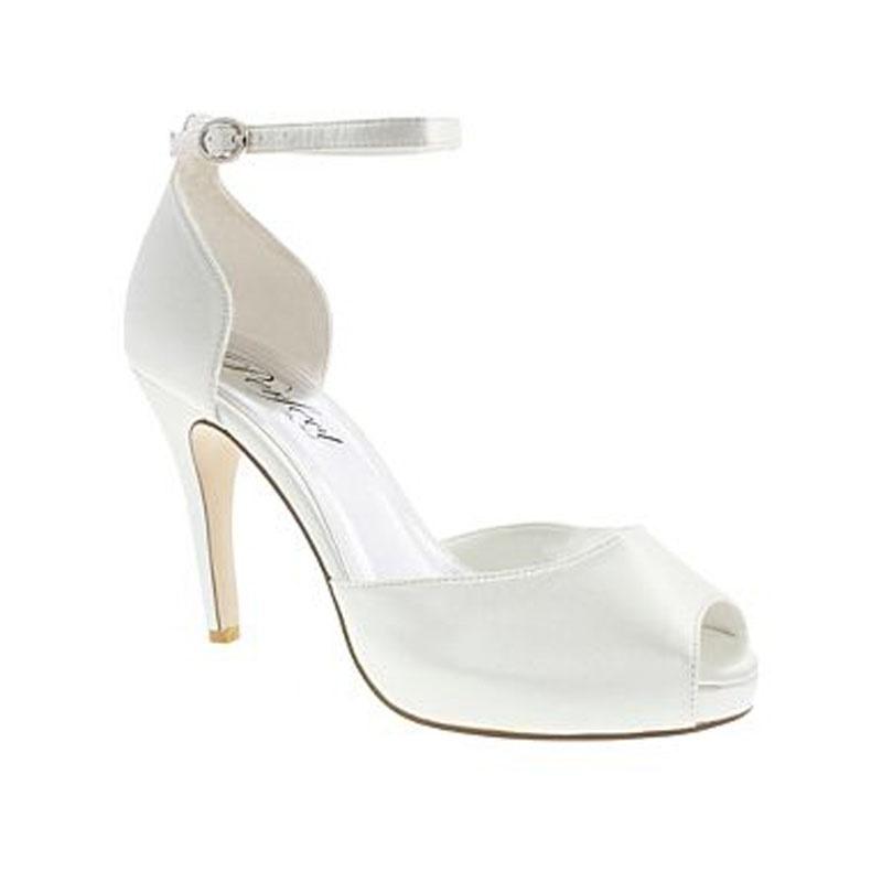 b51c459a55 Biele svadobné saténové topánky vpredu otvorené na vysokom opätku ...