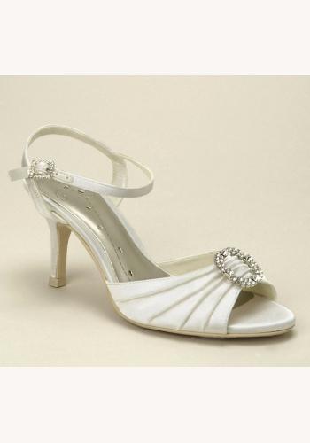 9187f1c9aa Smotanové svadobné saténové sandále na strednom opätku 041 - Salón Emily