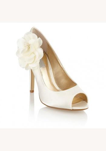fc93887565 Smotanové svadobné saténové topánky vpredu otvorené na vysokom opätku 044