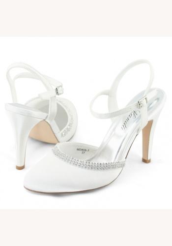 b8d31674f5 Biele svadobné saténové topánky s otvorenou pätou na vysokom opätku 049