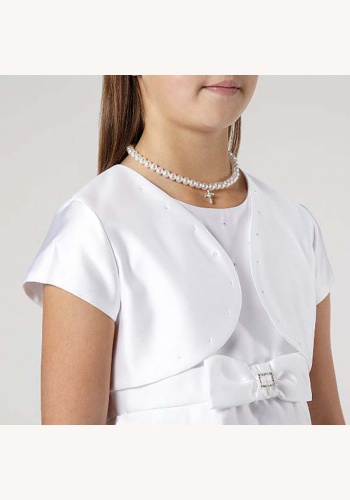 Biele saténové bolerko s krátkym rukávom 001 8d1a8370dfb