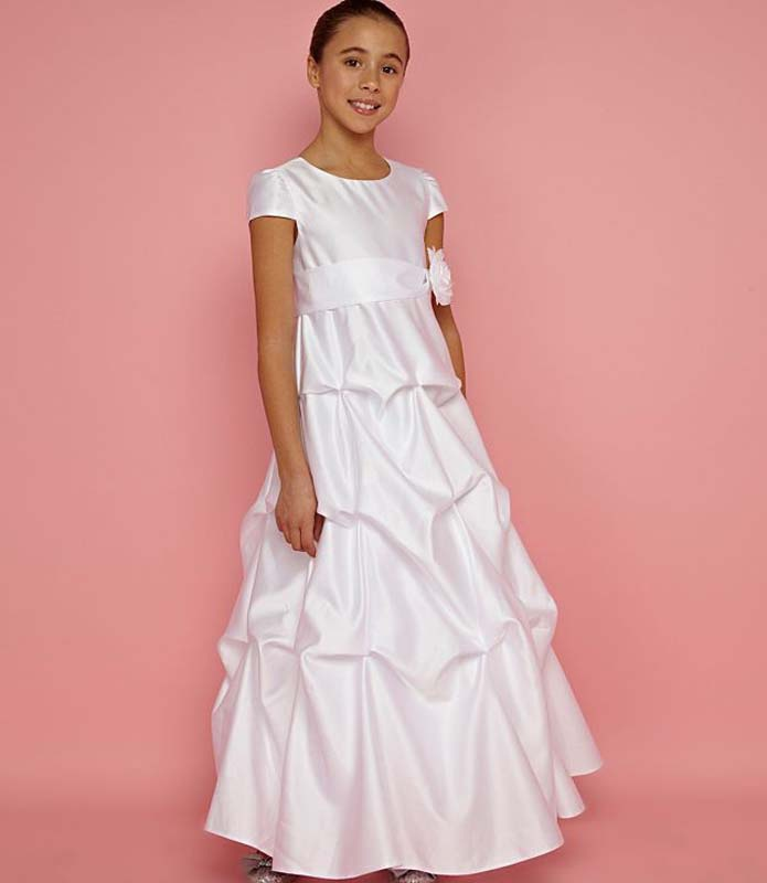 Biele dlhé šaty na 1. sväté prijímanie s krátkym rukávom 005 1c91fd32b28