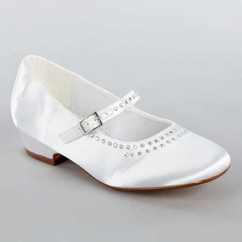 96d83a7eb0 Biele saténové topánky s kamienkami na nízkom opätku 002 - Salón Emily