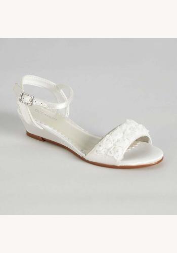b4ead61a62 Biele saténové sandálky s kvietkami 0140