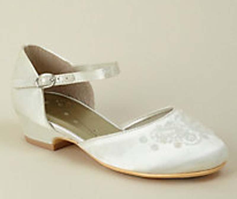 60c0cbd1e3c61 Smotanové saténové topánky s výšivkou na nízkom opätku 019W - Salón ...