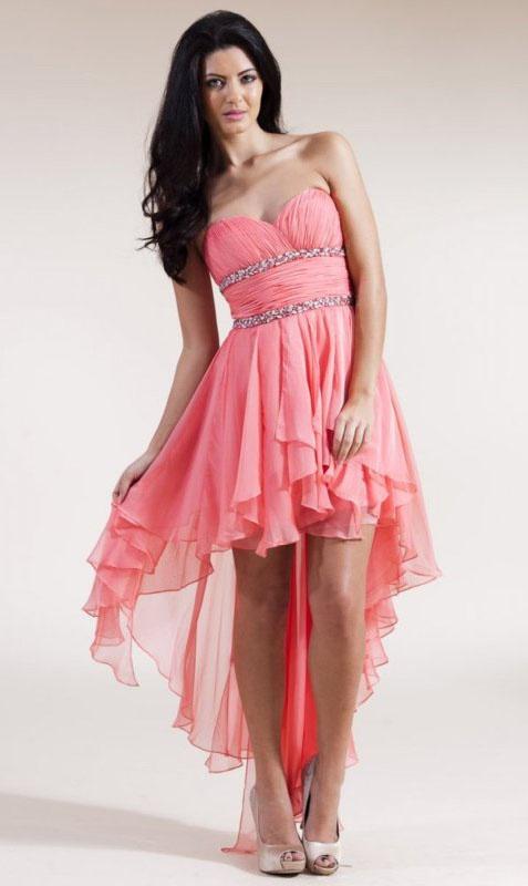 e6363d05f2c3 Ružové korzetové vpredu krátke vzadu dlhé šaty 014 - Salón Emily