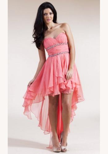 2e4fbed64920 Ružové korzetové vpredu krátke vzadu dlhé šaty 014