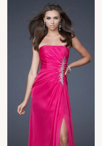 402be1c274c9 Ružové dlhé korzetové šaty s flitrami s rozparkom 027