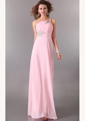 7191565889b3 Ružové dlhé šaty na jedno rameno 060Ea