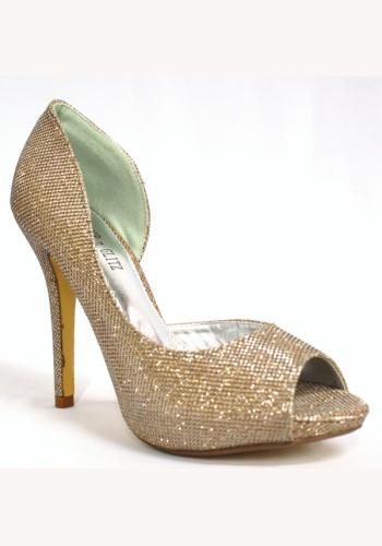 76ae1900f7755 Zlaté trblietavé topánky vpredu otvorné na vysokom opätku 009