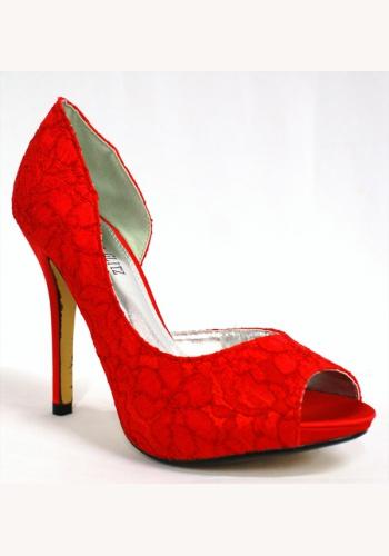 71466bcc298b9 Červené čipkované topánky vpredu otvorené na vysokom opätku 010