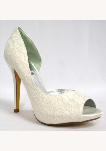 5a1d9fe573 Biele čipkované topánky vpredu otvorené na vysokom opätku 011