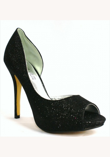 c1fd570917e59 Červené zamatové topánky vpredu otvorené na vysokom opätku 019. Čierne  trblietavé topánky vpredu otvorené na vysokom opätku 018