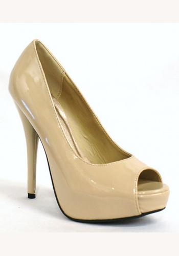 5cd66af02bac Béžové lakované topánky vpredu otvorené na vysokom opätku 022