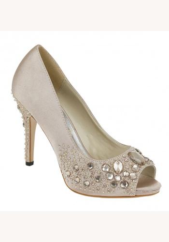 ca00dca3c9 Béžové saténové topánky vpredu otvorené s kamienkami na vysokom opätku 026