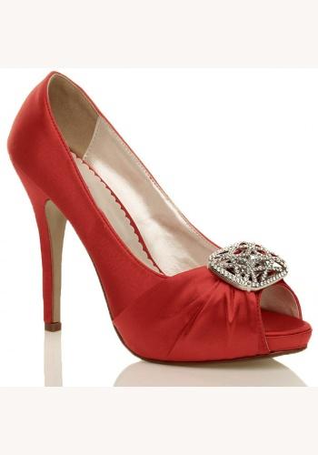 7615fb6307a81 Červené saténové topánky vpredu otvorené so štrasovou sponou na vysokom  opätku 032