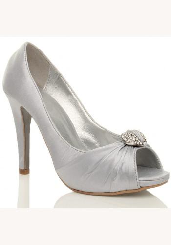 6fc47e7df3d7 Biele topánky vpredu otvorené so štrasovou sponou na vysokom opätku 036
