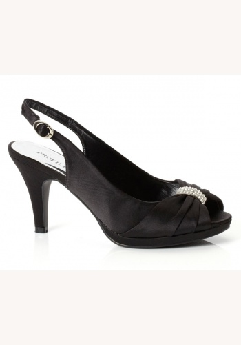 5312fec0fdb6c Čierne saténové sandále so sponou na strednom opätku 045