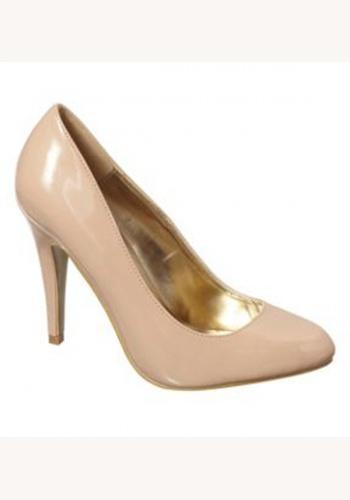 Béžové lakované topánky na vysokom opätku 049 94e2ea33535