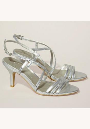 86eec01632 Strieborné sandále na strednom opätku 054W